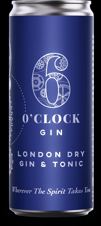6 O'clock Gin London Dry Gin & Tonic RTD